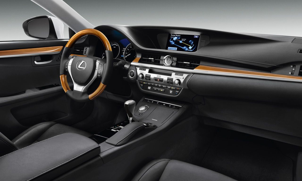 Lexus es 300h shown in available black leather and bamboo trim with ultra luxury and