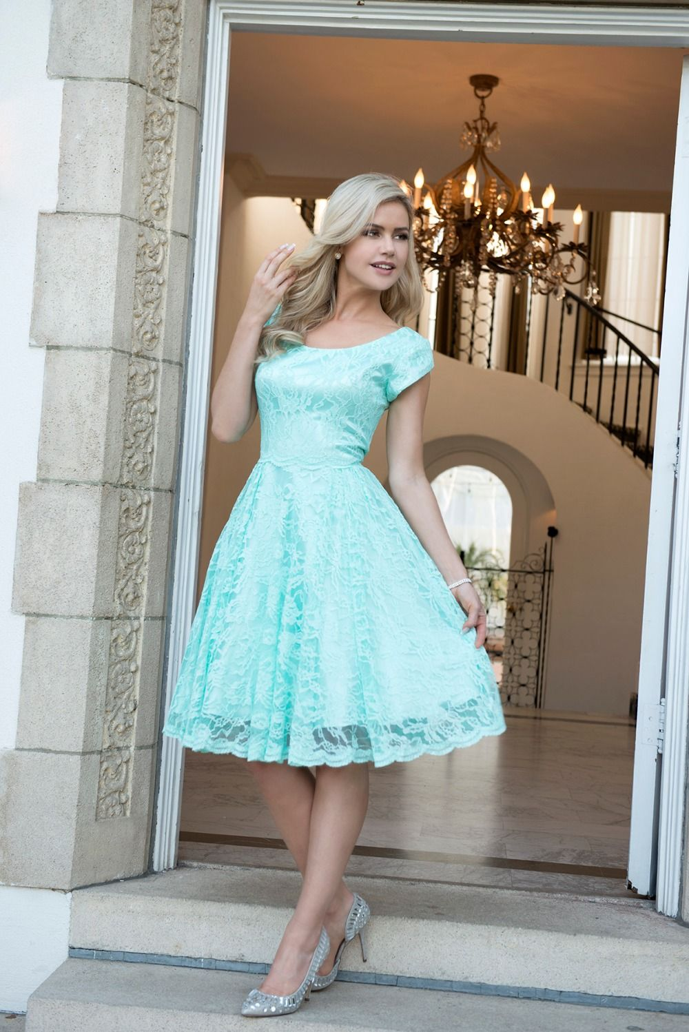 Click to buy cecelle 2016 mint vintage short lace modest click to buy cecelle 2016 mint vintage short lace modest bridesmaid dresses ombrellifo Image collections