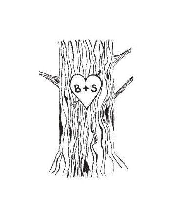 Custom Tree Trunk with Lovers Heart and carved initials ...