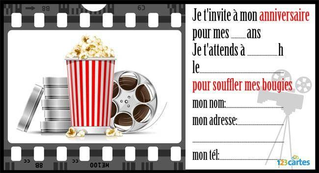 invitation anniversaire cin ma imprimer avec du popcorn et des bandes de films ainsi que le. Black Bedroom Furniture Sets. Home Design Ideas