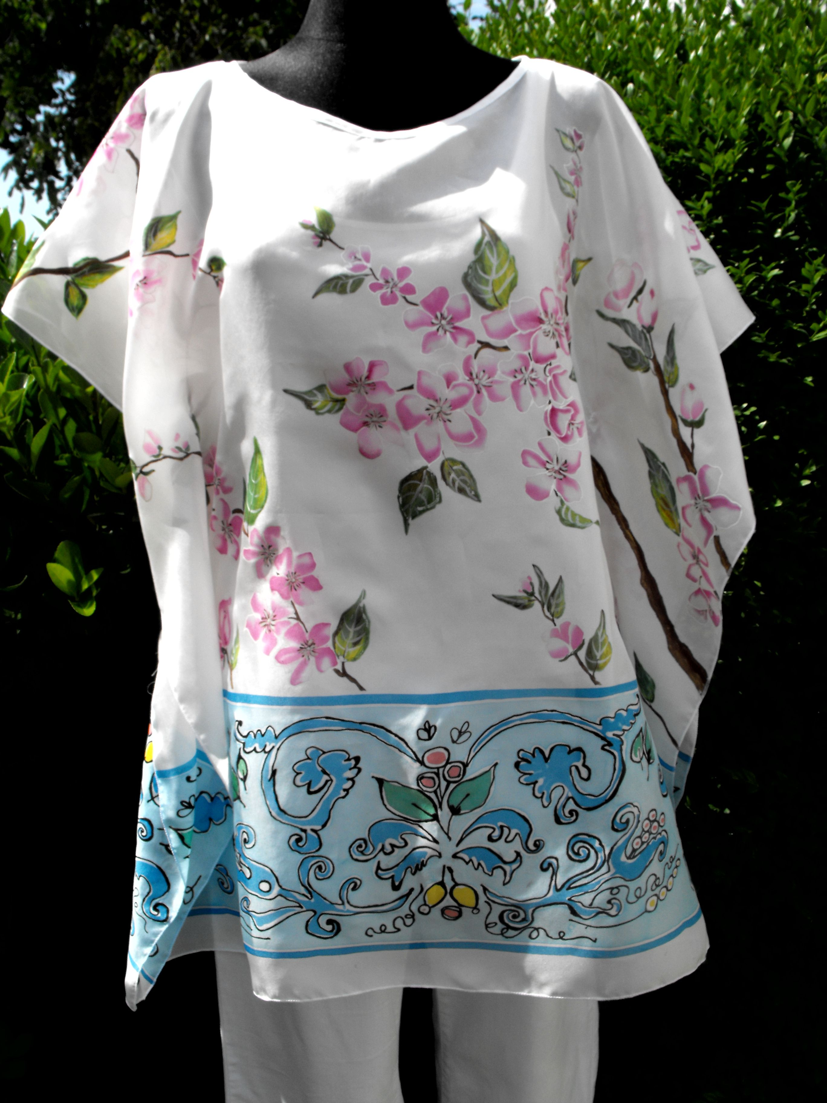 The kaftan for summer - 100% silk Habotai, hand painted - Ivana Cifranic