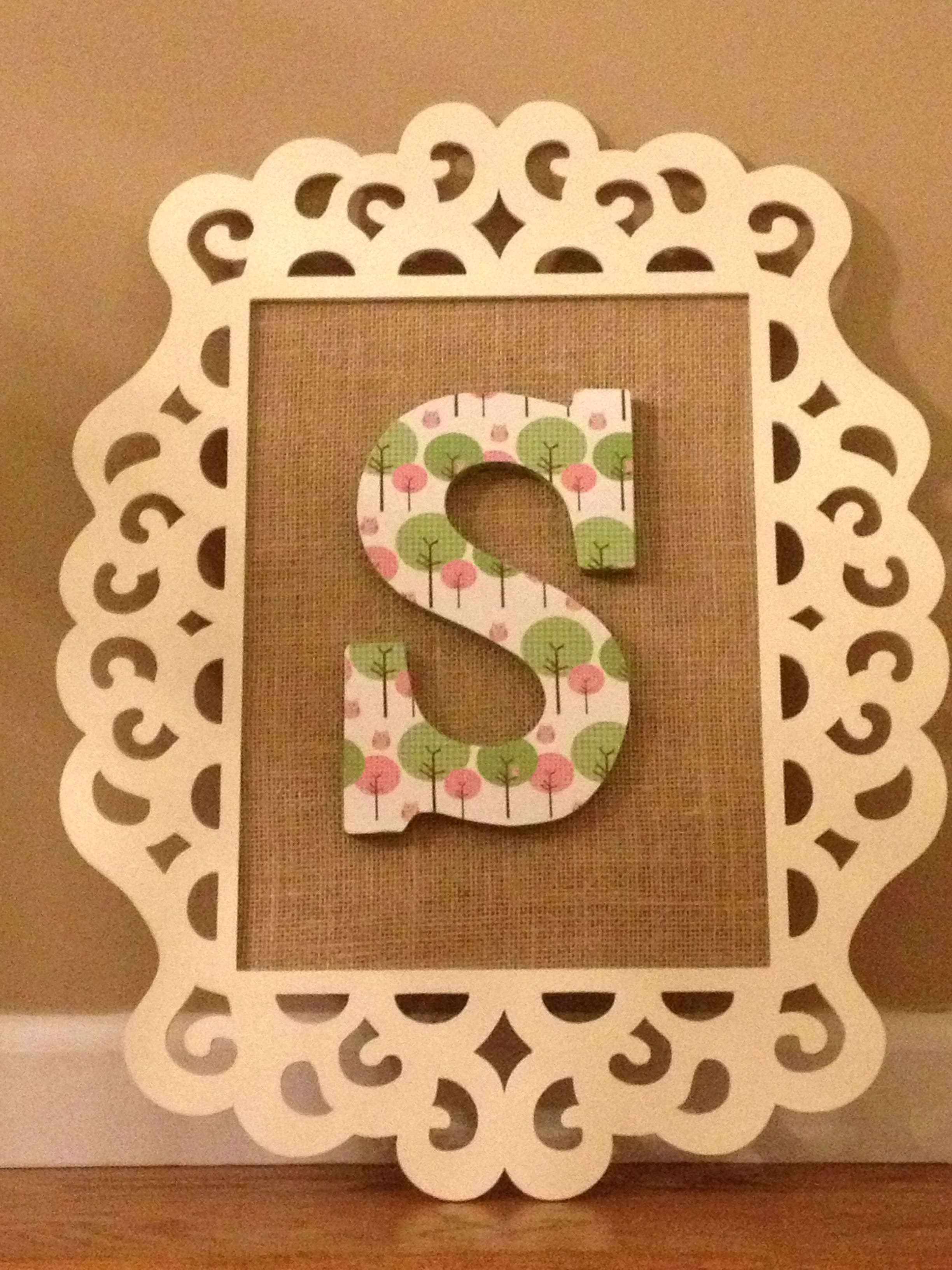Painted Cheap Laser Cut Wood Frame From Michaels With Burlap Inside