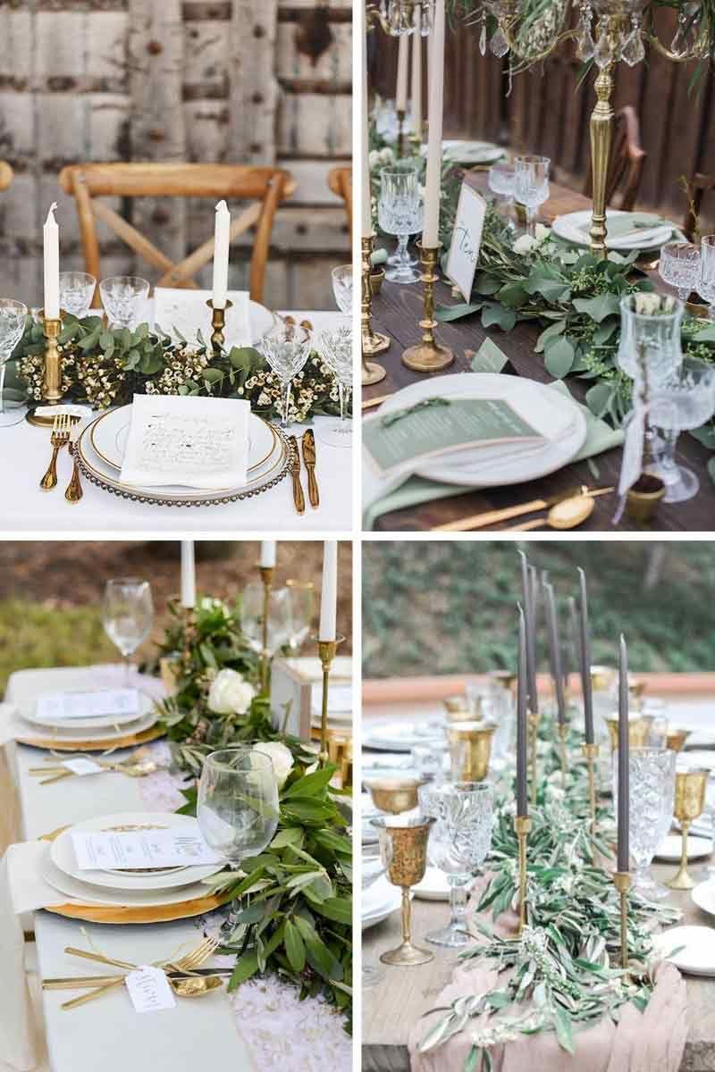 Un Decor De Table Champetre Vert Et Blanc Avec Des Feuillages En Guise De Chemins De Table Table Mariage Blanche Deco Mariage Blanc Table Mariage Champetre