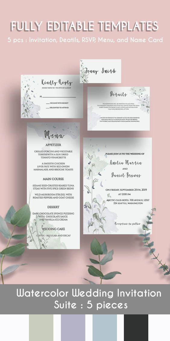 Watercolour brushes wedding Invitation, Downloadable Wedding Invitation, Wedding Invitation, Custom Wedding Invitation, Invitation Printable