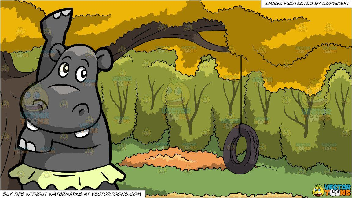 Vendor: vectortoon Type: Clipart Price: 20.00  Source Clipart  A Dancing Hippo  A gray hippopotamus with two big white teeth wearing a light green tutu raises its front right leg while dancing ballet.  Tire Swing In A Backyard Background  A rubber tire swing attached to the branch of a big tree with yellow leaves surrounded by lush green trees during an Autumn day. #tireswing