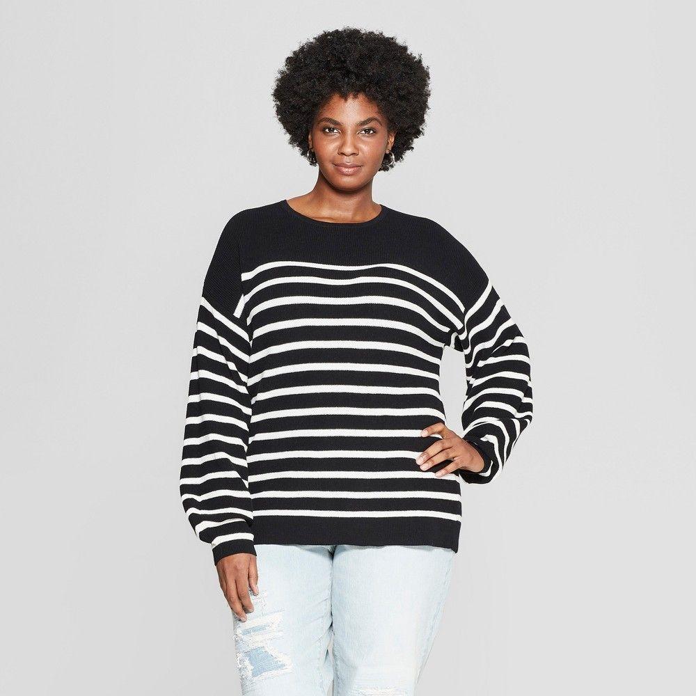 59b64ef20f1 Women s Plus Size Striped Textured Pullover Sweater - Ava   Viv Black Cream  2X