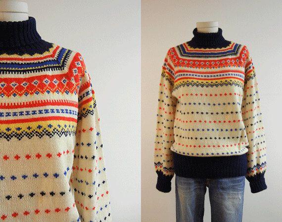Vintage Nordic Wool Fair Isle Sweater / Hand Knit Sweater Cream ...