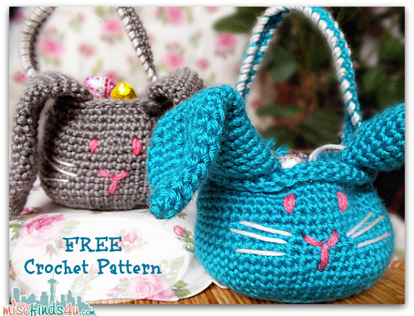 Free Crochet Patterns For Easter Gifts : Crochet How To: Free Crochet Easter Bunny Basket Pattern ...