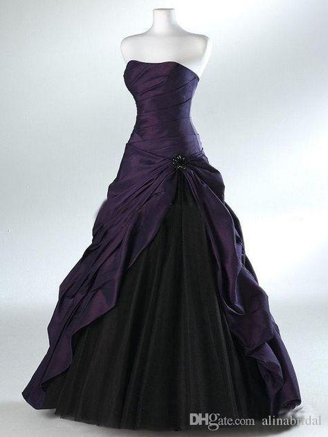 243ecb7cec Purple And Black Ball Gown Gothic Wedding Dresses for Brides Strapless Grey Floor  Length Actual Picture Bridal Gowns Vestidos de Novia