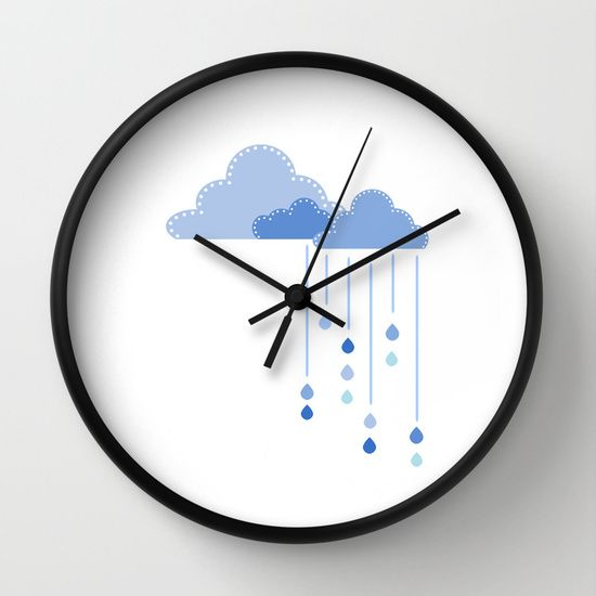 Blue Clouds Wall Clock For Kids On Society6