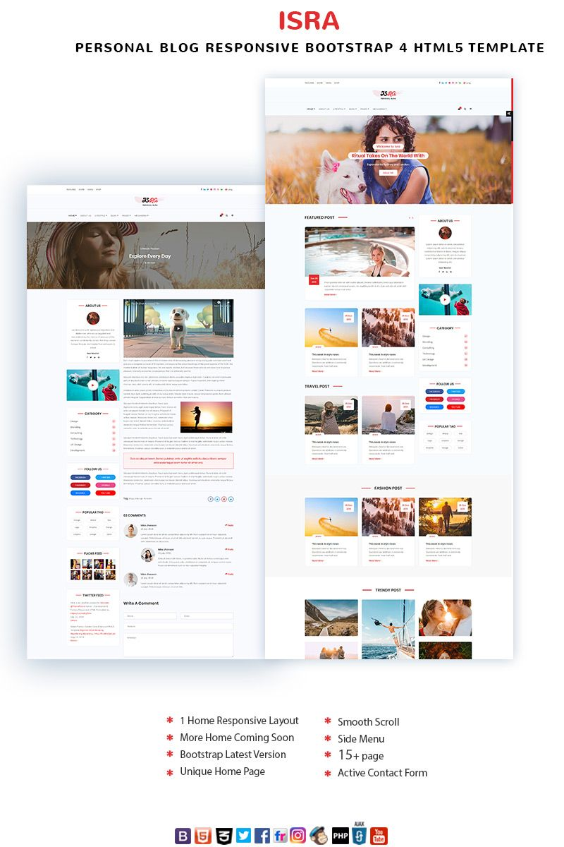 Isra Personal Blog Website Template 97873 Personal Blog Website Blog Website Design Blog Website Template