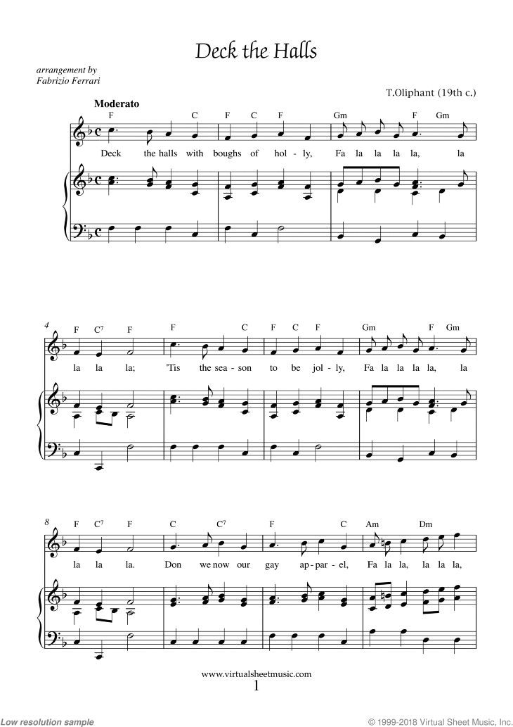 Oliphant - Deck the Halls sheet music for piano, voice or other instruments   Deck the halls ...