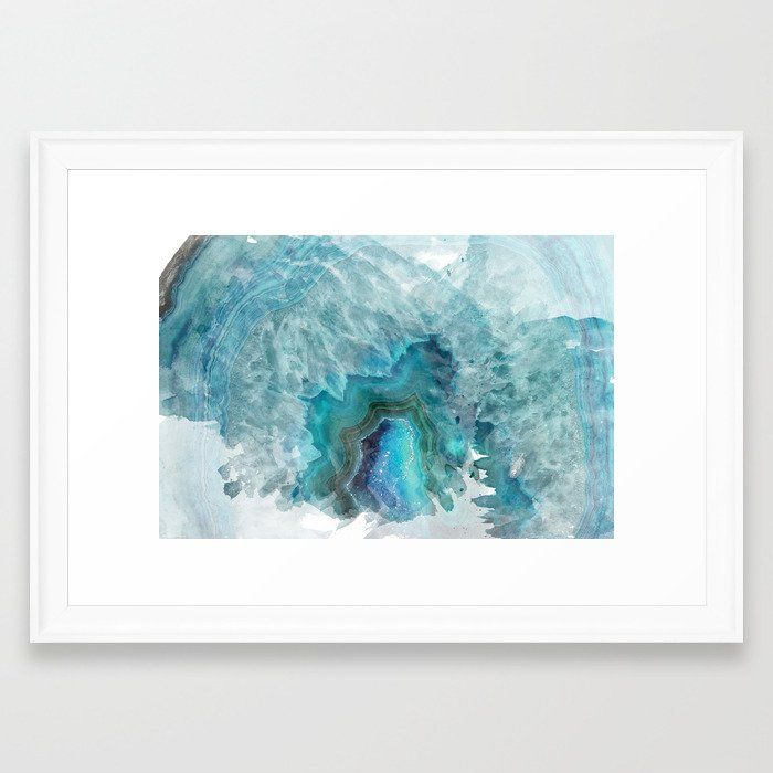 Blue Aqua Agate Framed Art Print