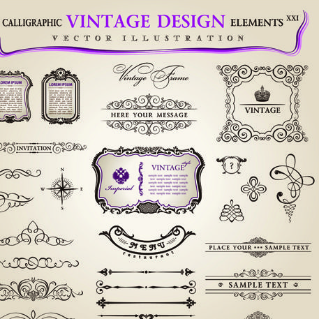 Set of Calligraphic vintage Borders and label
