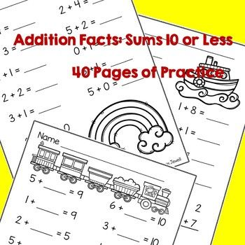Addition and Subtraction Worksheets BUNDLE for Kindergarten and 1st ...