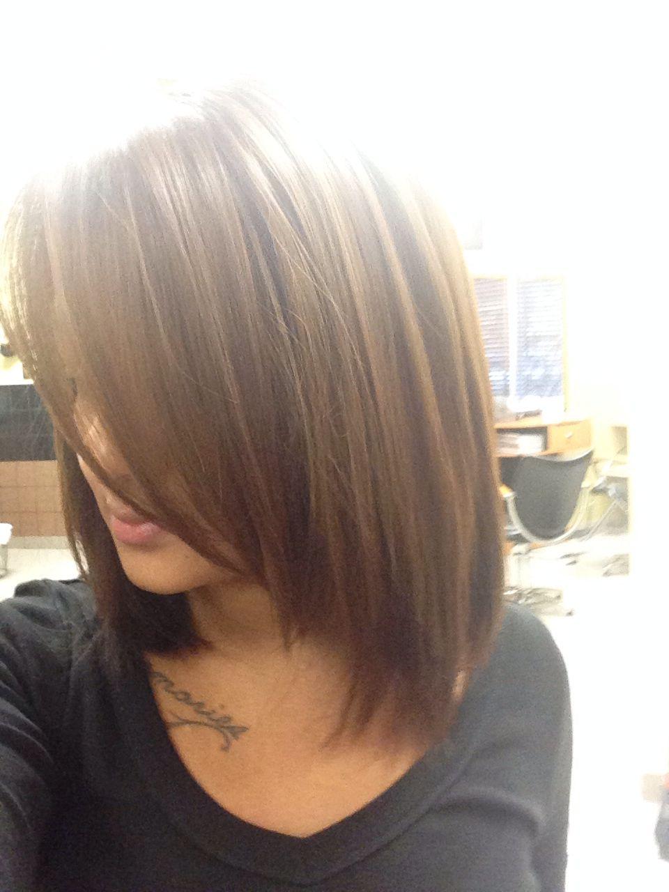 Medium brown hair w highlights it def love the length long