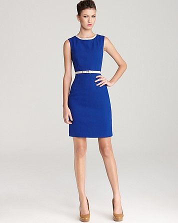 0c992565c587 Anne Klein Dress Belted Contrast Neck Shift Dress