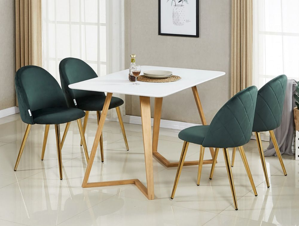 Emerald Green Luxe Velvet Dining Chair Gold Legs Diamond Parlour