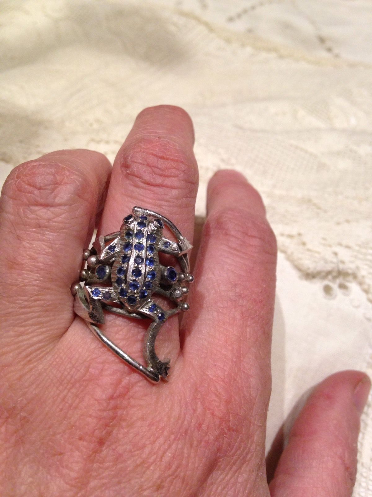 Antique Genuine Blue Sapphire Stone Frog Vintage 925 Sterling Silver ...