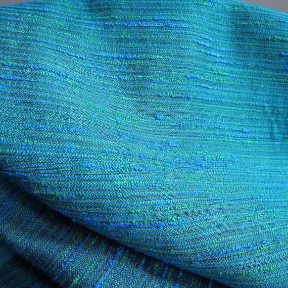Vintage Blue Green Upholstery Fabric 12 Yards Textured Boucle Mid