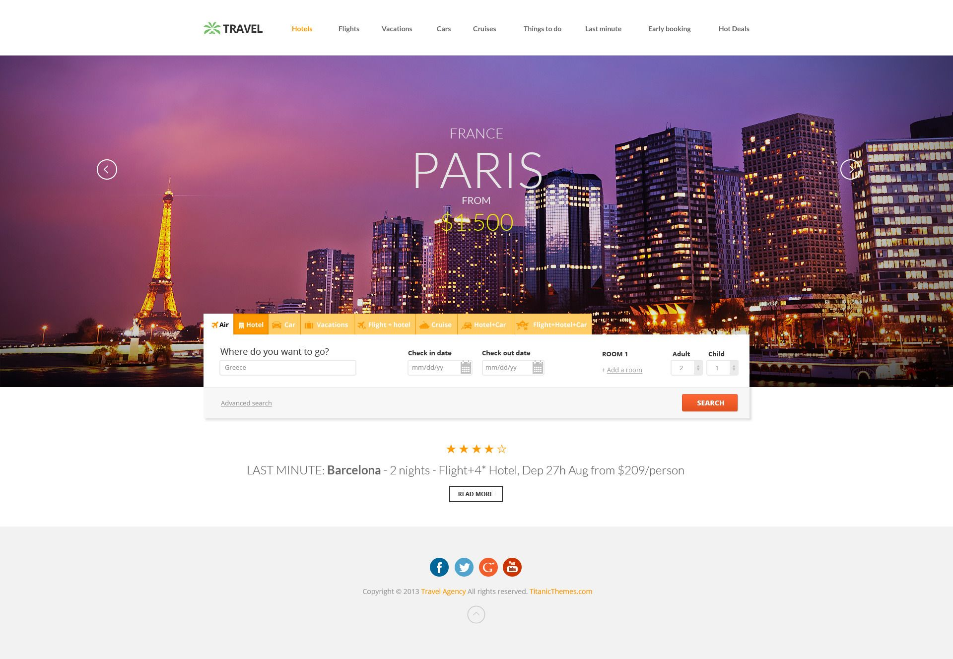 Travel Agency Multipurpose Booking PSD Template Travel