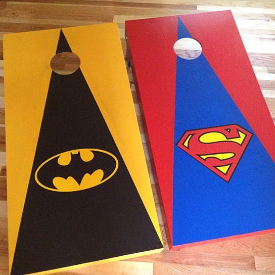 Custom Cornhole Boards Superman and Batman Custom Made Cornhole