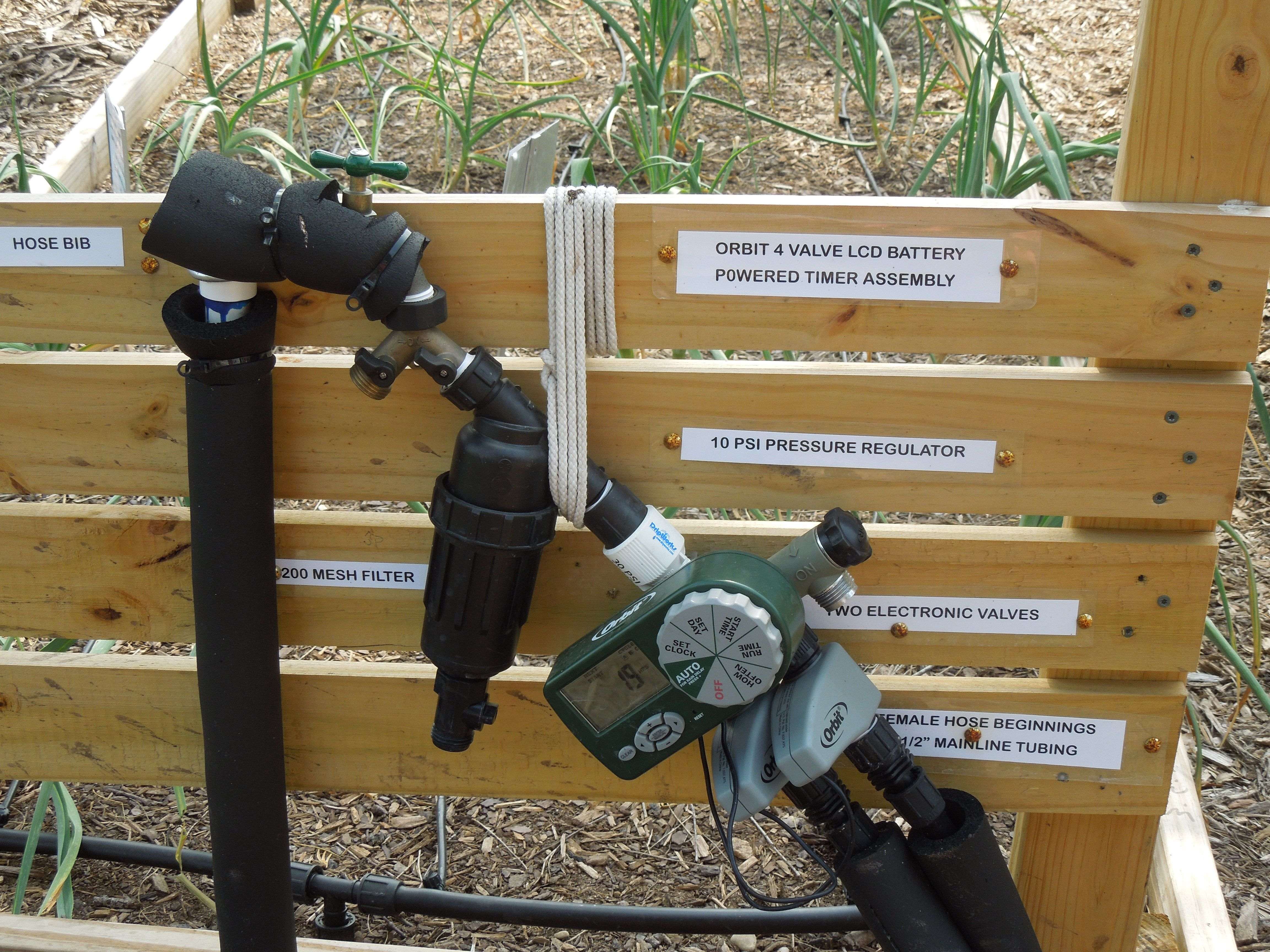 drip irrigation start from the faucet to the garden bed a filter