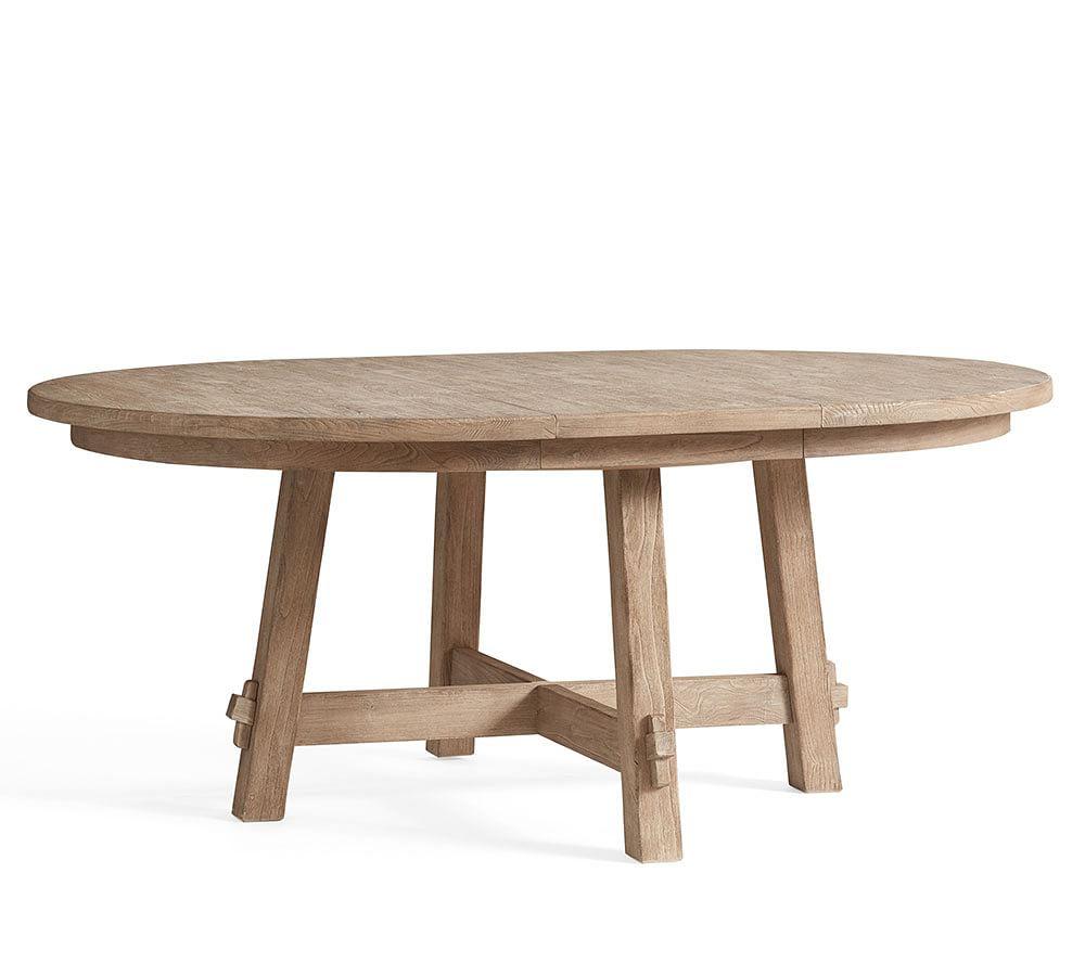 "Toscana Round Pedestal Extending Dining Table, Seadrift, 54"" - 72"" L"