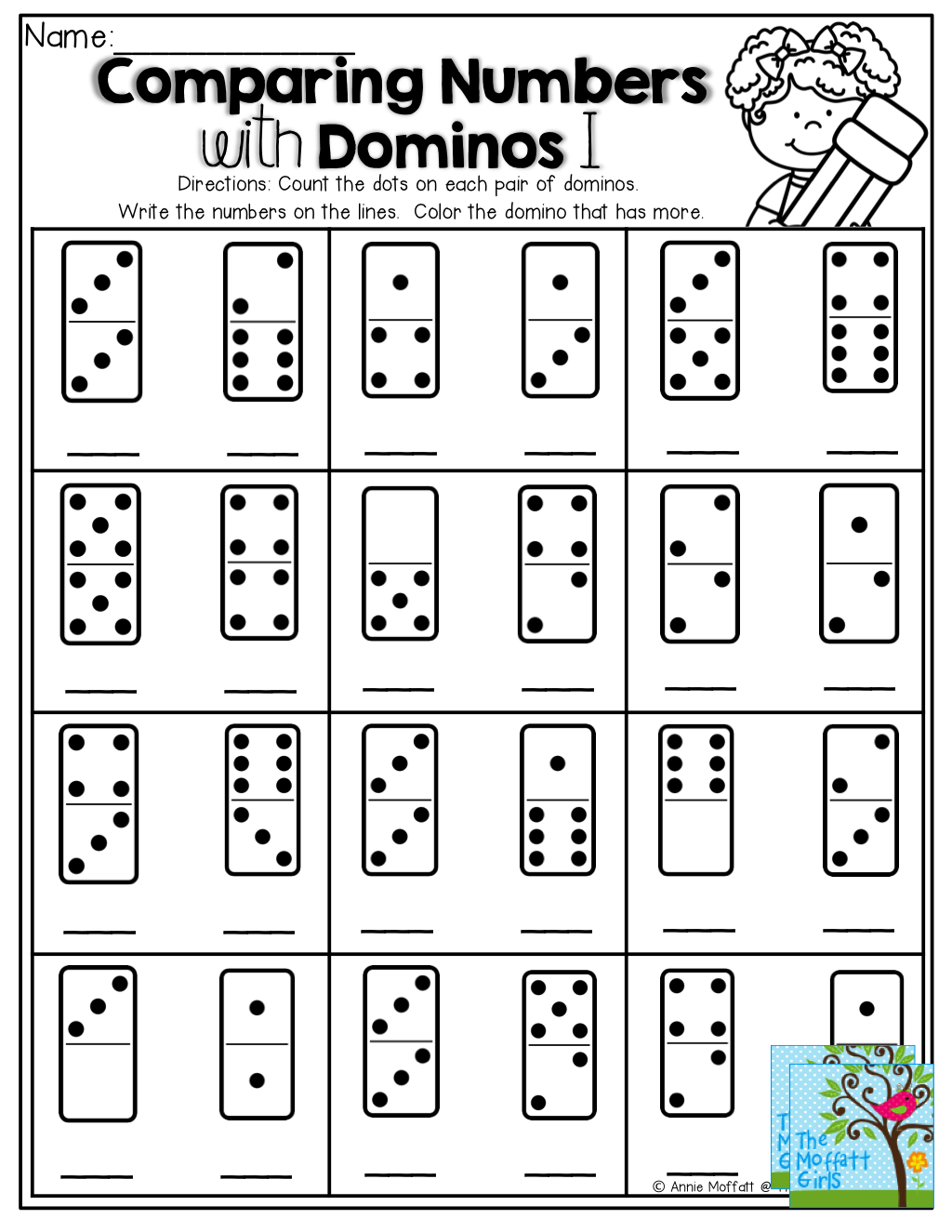 worksheet Domino Addition Worksheet comparing numbers count the dots on domino write number color the