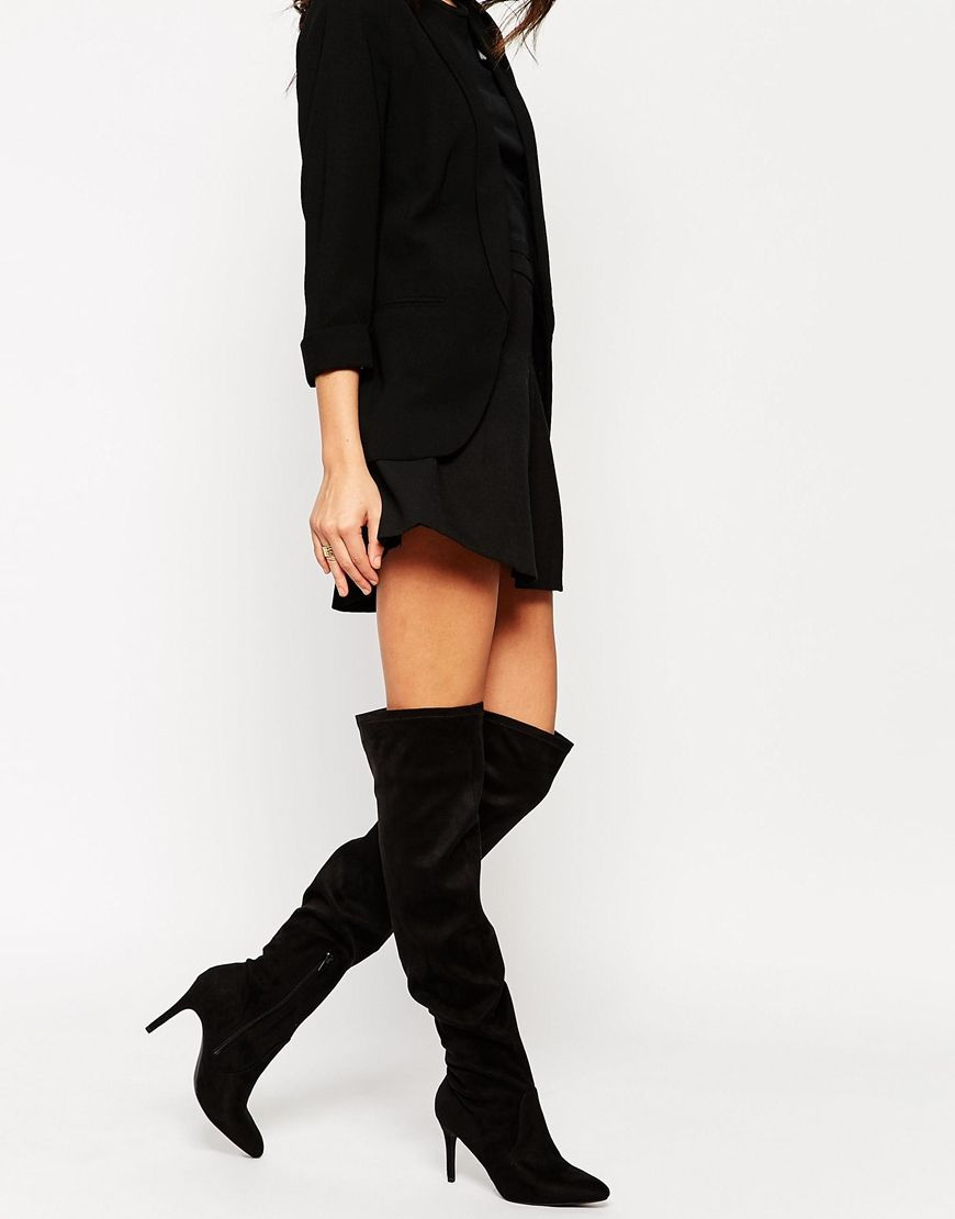 Image 1 of New Look Black Stretch Over The Knee Heeled Boots ...