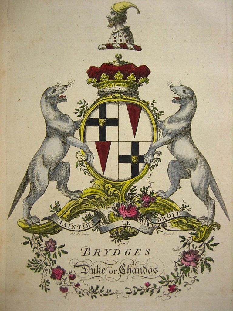 Coat Of Arms Of The Brydges Family Jacobs English Peerage 1700s