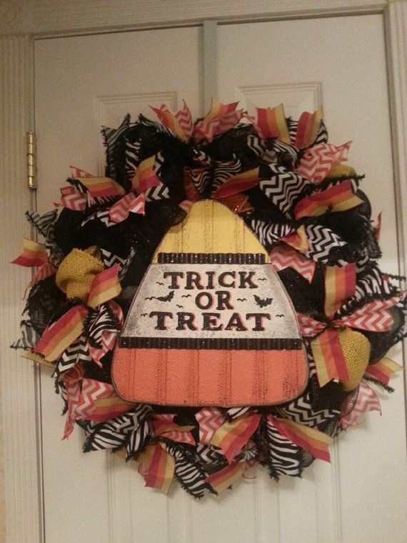 Halloween Trick or Treat Candy Corn Wreath on Etsy, $65.00