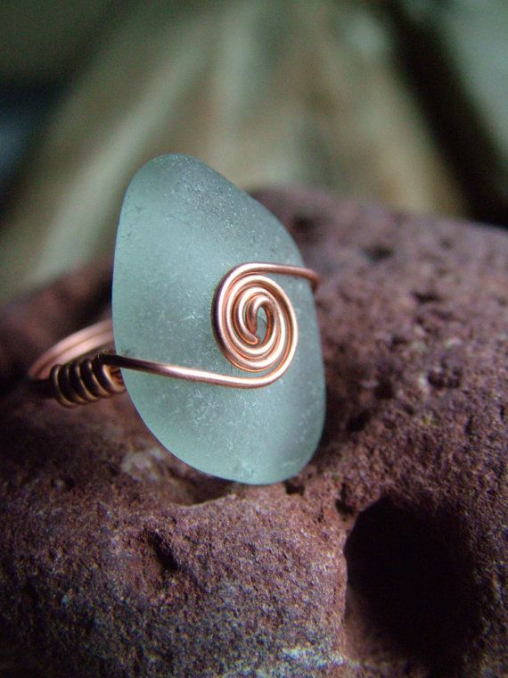Sea Glass Ring Size 6 1/2
