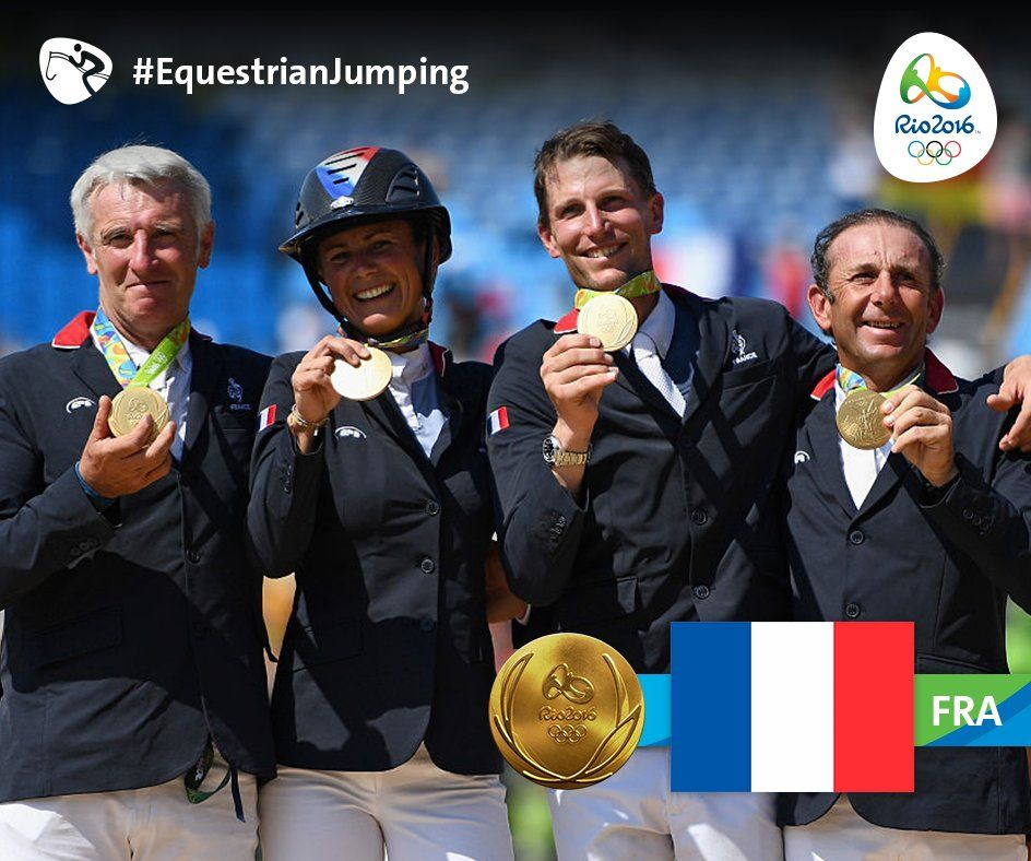 Philippe Rozier, Kevin Staut, Roger Yves Bost and Pénélope Leprevost of  #FRA took team #Gold in #EquestrianJ…   Equestrian jumping, Rio olympics  2016, Olympics 2016