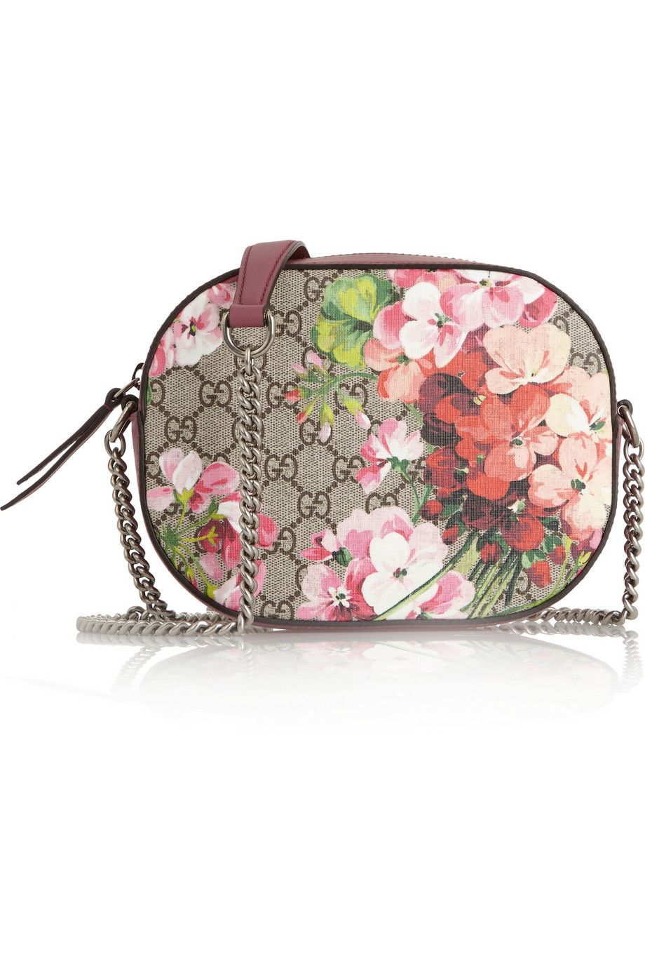 ca1e2ebc466784 Gucci | Blooms GG Supreme leather-trimmed printed coated canvas shoulder bag  | NET-A-PORTER.COM