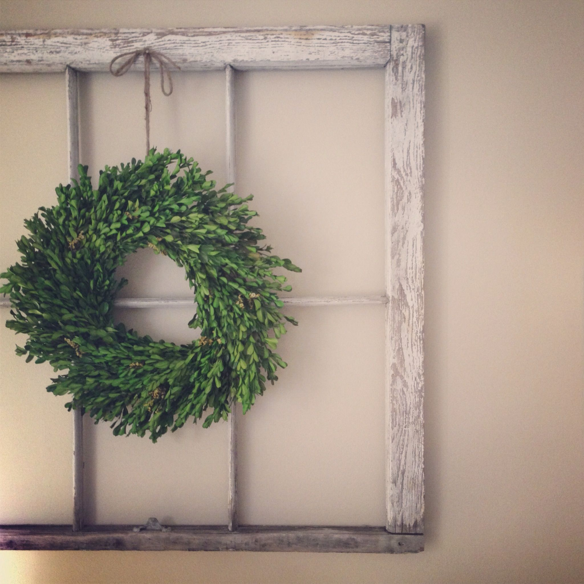 Window decor with wreath  old window with boxwood wreath love  farmhouse styles  pinterest