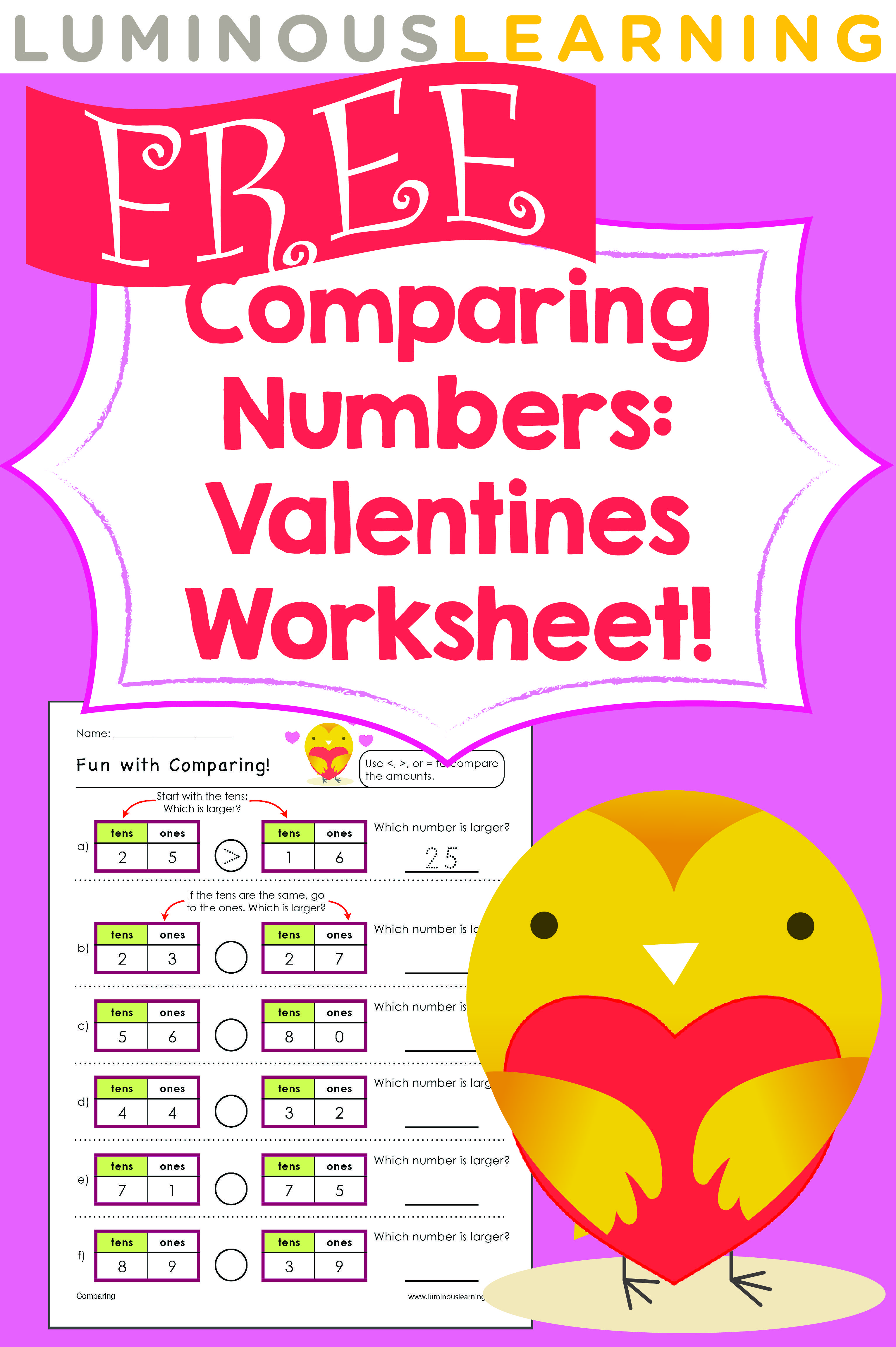 Luminous Learning Free Valentines Worksheet Comparing