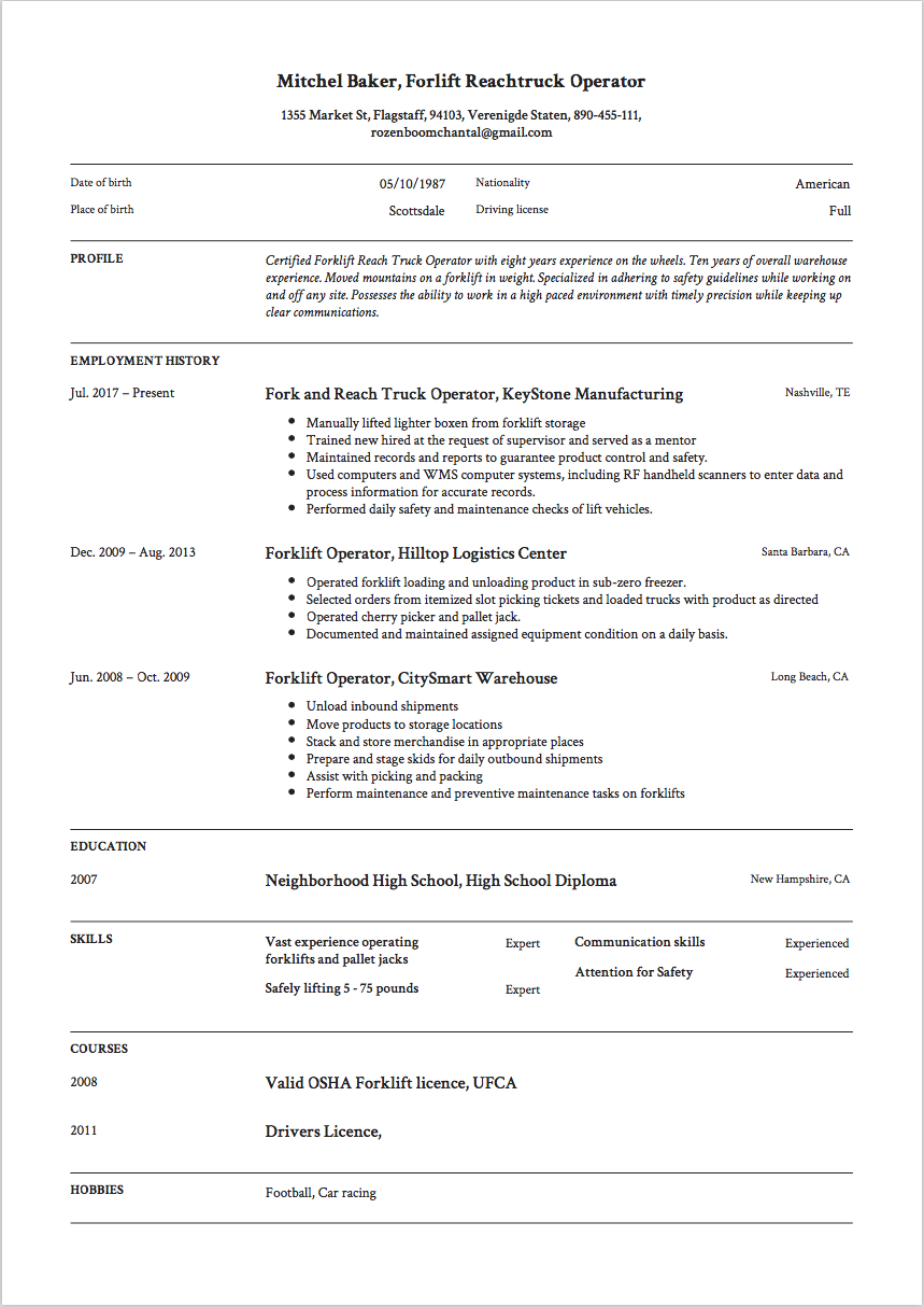 Forklift Resume Sample, Template, Example, Free, download