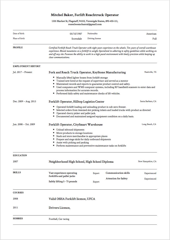 Forklift Resume Sample Template Example Free Download Cv