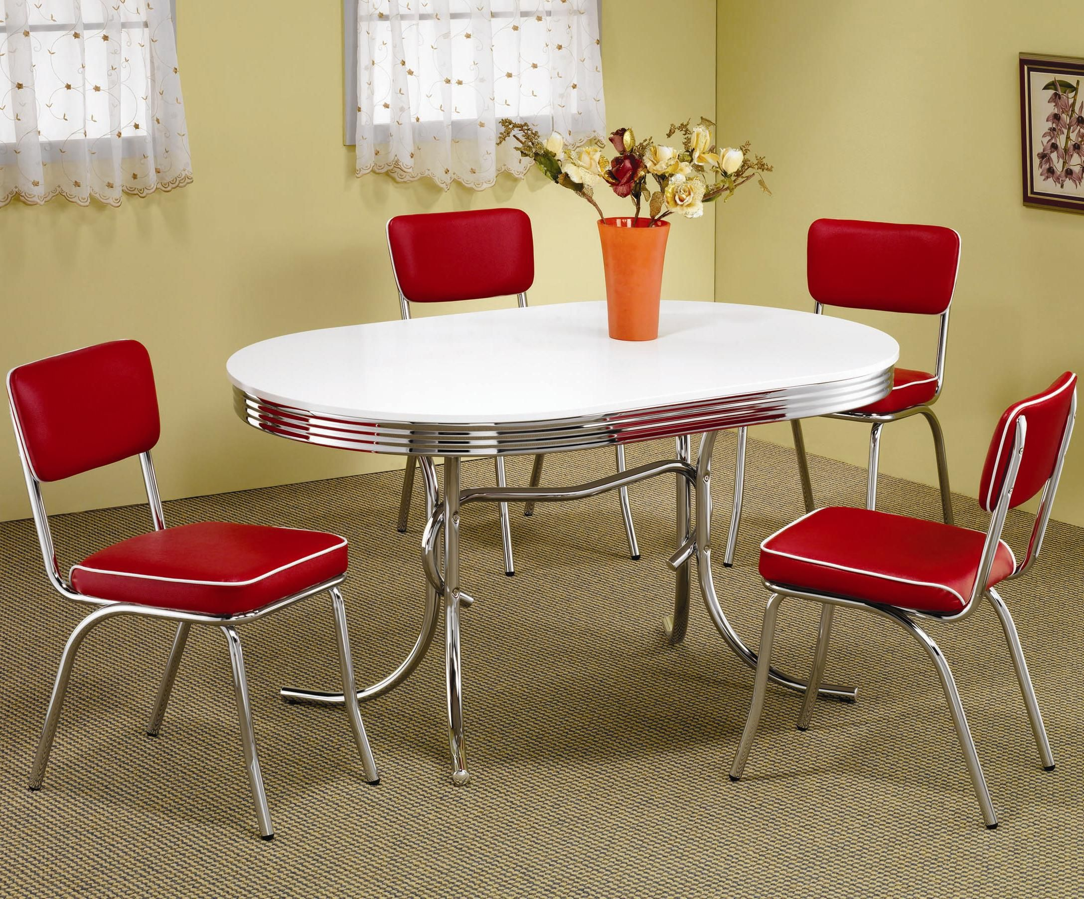 Retro 5 Piece Chrome Plated Oval Dining Table With Red Vinyl Cover Pleasing Oval Dining Room Table Set Inspiration