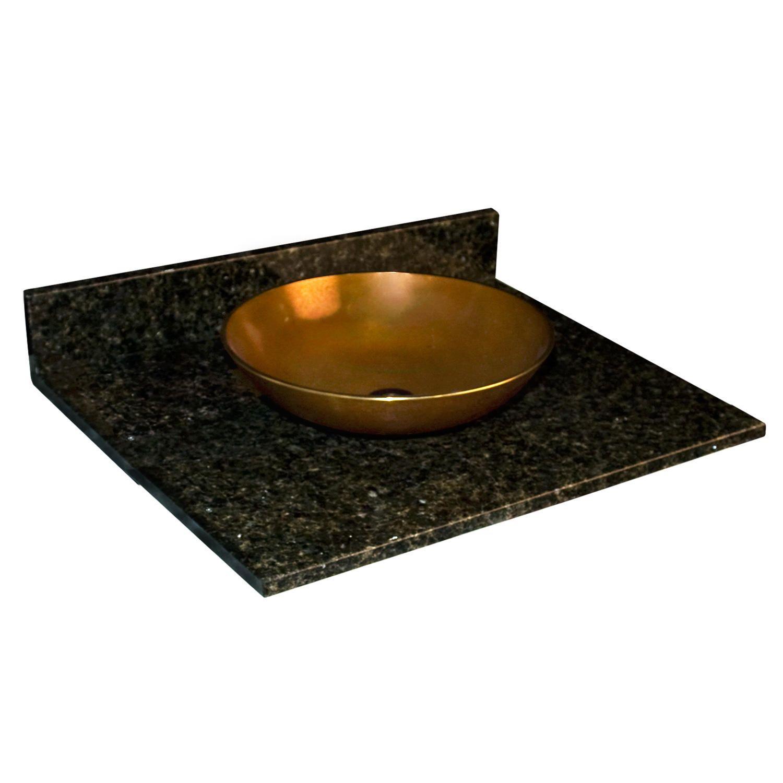 "25"" x 22"" Granite Top Vessel Sink No Faucet Hole Rustic · Granite Vanity"