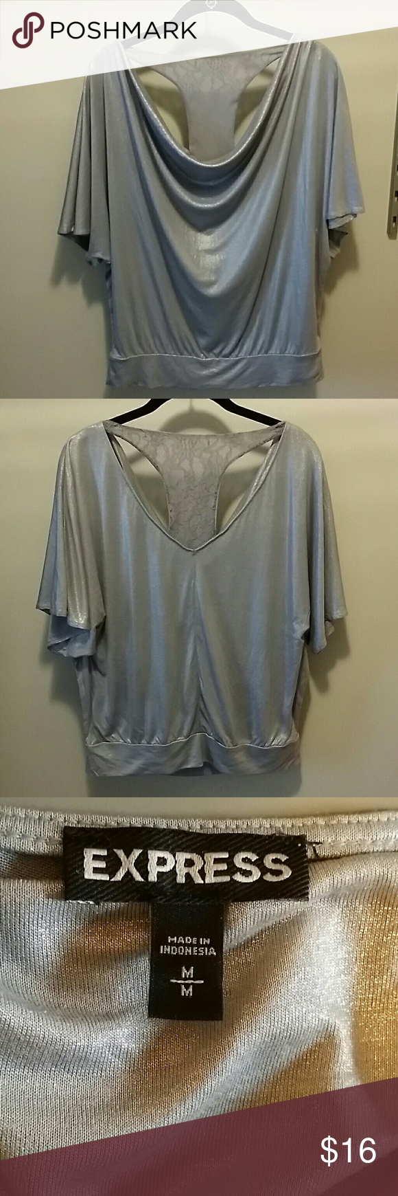 Express Dolman Top with Lace Racerback Size M Express dolman top with a sexy lace racerback. Shimmery silver. Size M Express Tops