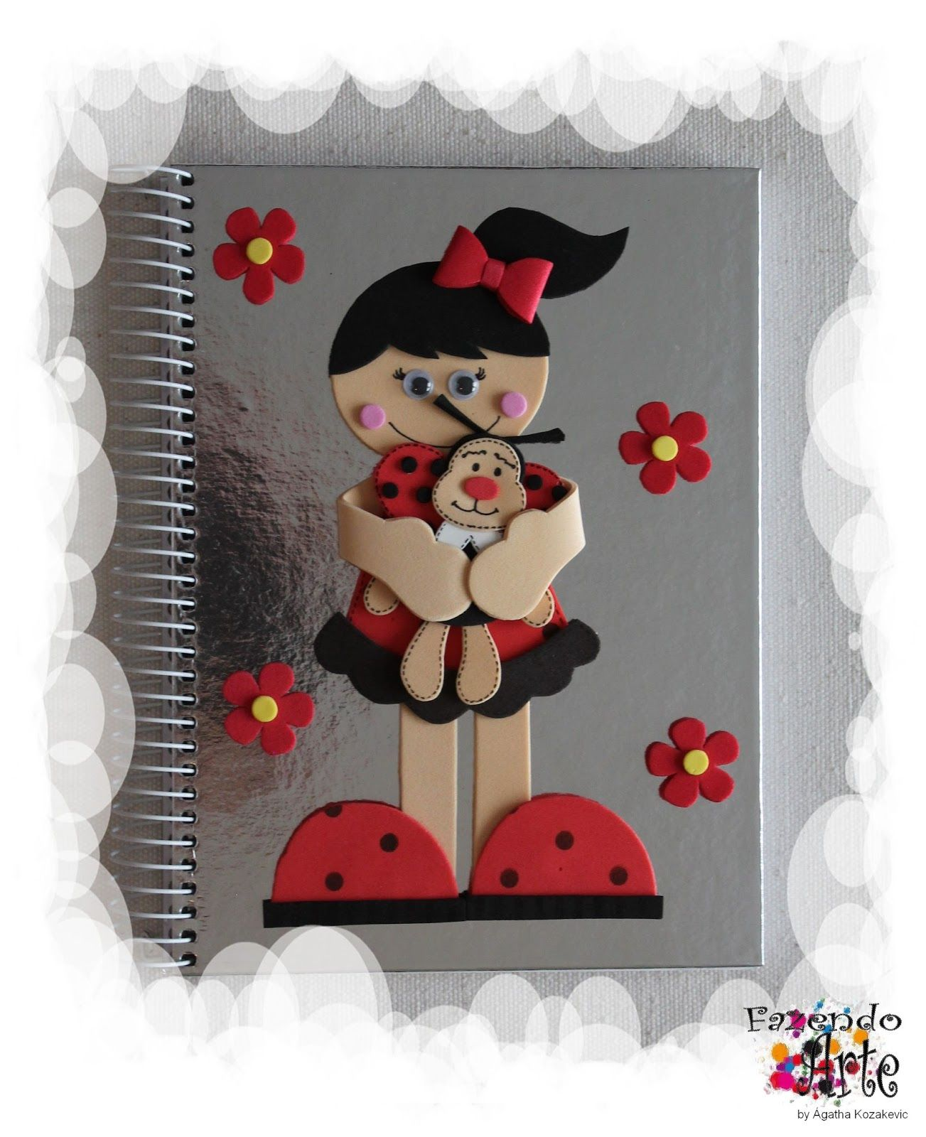 Caderno Decorado e Personalizado - Joaninha