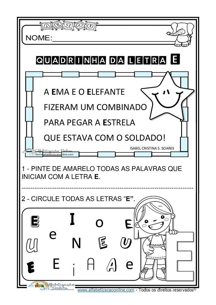 Atividades De Alfabetizacao Infantil Letra E Em 2020 Com Imagens