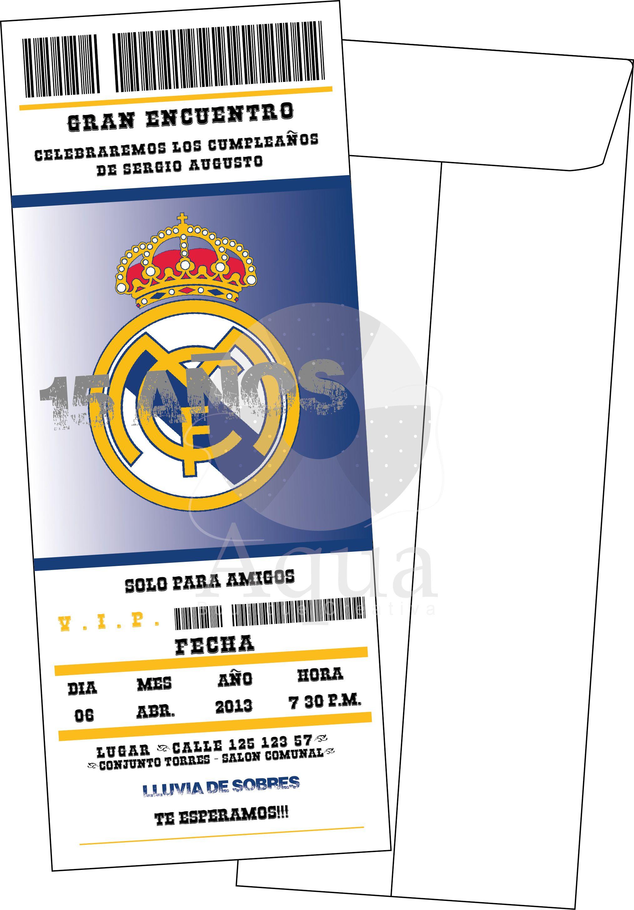 Invitación Real Madrid Tarjetas De Cumpleaños Futbol