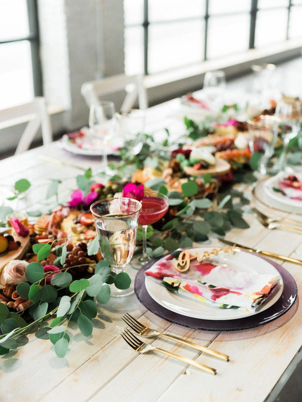 Modern Fuchsia Wedding Reception Table With Charcuterie