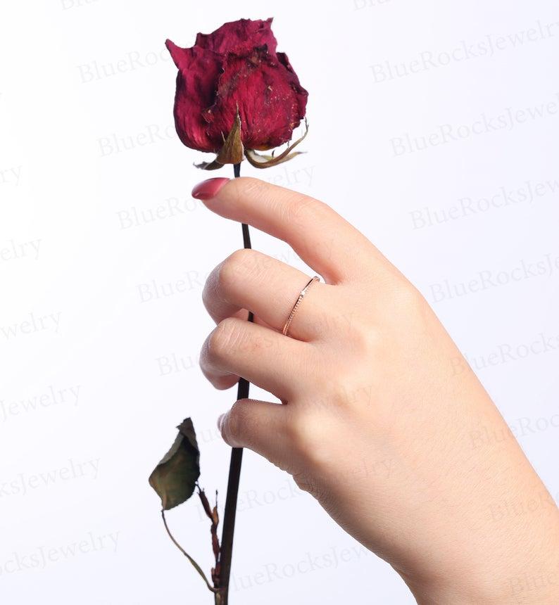 Vintage Diamond wedding band art deco ring Delicate Rose | Etsy