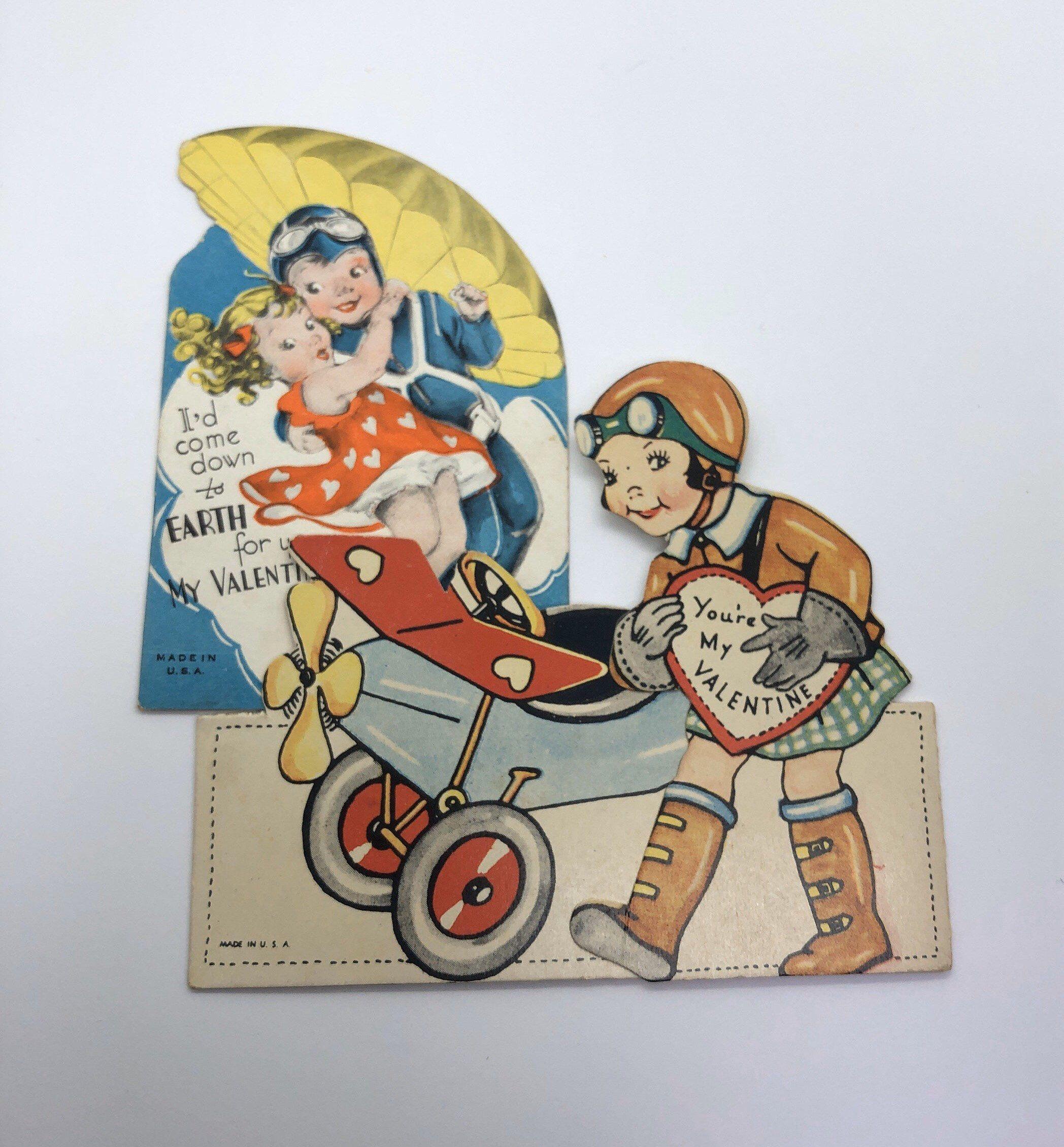 vintage valentine cards pilot  airplane valentines lot of