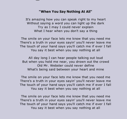When You Say Nothing At All Allison Kraus Good Song Not A Must This Point But I Like It