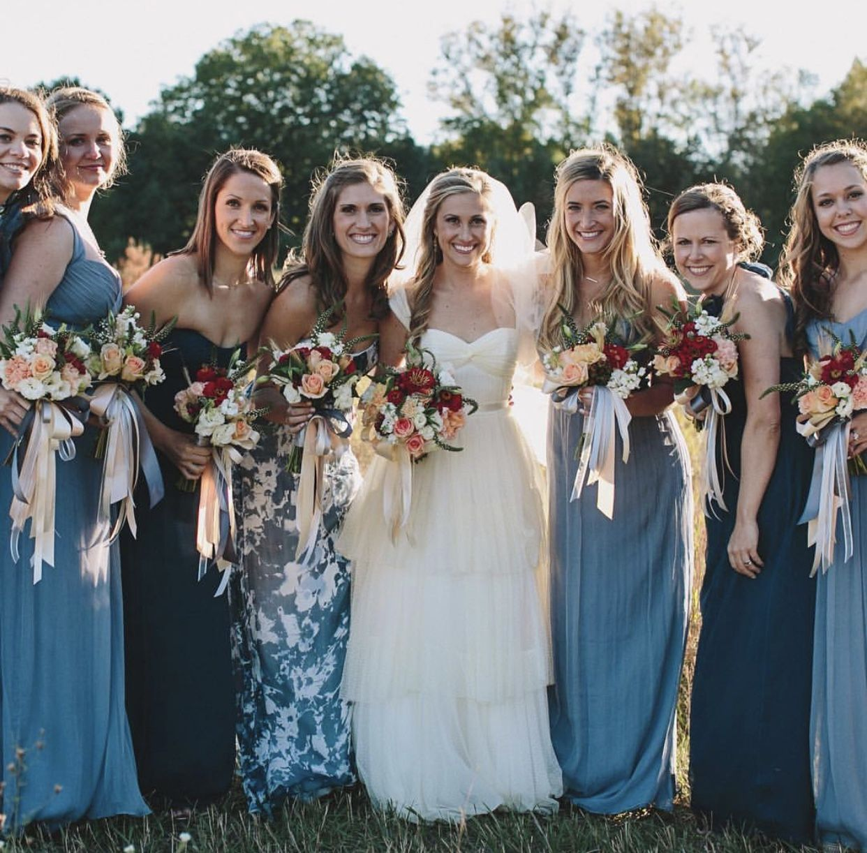 Bridesmaid dresses different colors and pattern for moh i do shades of blue and coordinating floral print mismatched bridesmaid dressesybe cute idea ombrellifo Gallery